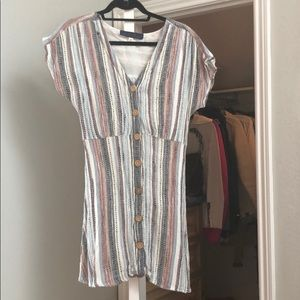 Multi stitch dress with wooden buttons